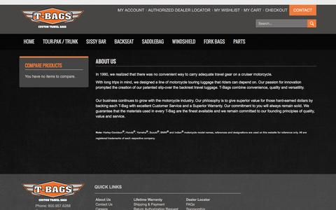 Screenshot of About Page tbags.com - T-Bags - custom motorcycle luggage About Us - captured Feb. 28, 2016