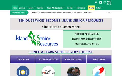 Screenshot of Home Page senior-resources.org - Senior Services of Island County - captured April 13, 2017