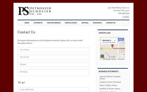Screenshot of Contact Page ps-law.com - Contact Us - PS Law - captured Oct. 2, 2014