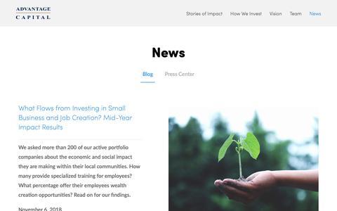 Screenshot of Press Page advantagecap.com - Blog - captured Nov. 12, 2018