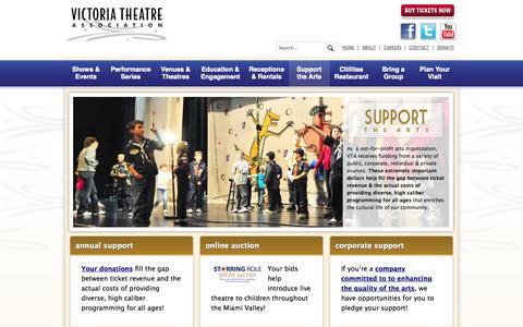 Screenshot of Support Page victoriatheatre.com - Support & Sustain Victoria Theatre Association | Victoria Theatre Association - captured Oct. 7, 2014