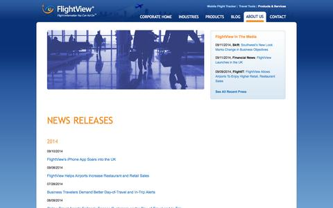 Screenshot of Press Page flightview.com - FlightView Inc. - Products & Services - News - captured Sept. 18, 2014