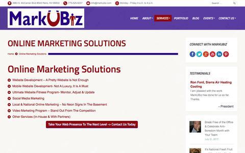Screenshot of Services Page markubiz.com - MarkUBiz.com | MarkUBiz.com | Reno Online Marketing Services - MarkUBiz.com - captured Sept. 1, 2017