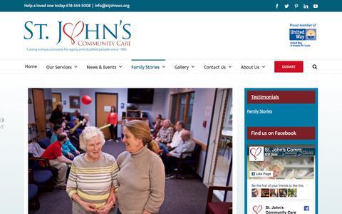 Screenshot of Testimonials Page stjohnscc.org - Family Stories   St. John's Community Care - captured Oct. 24, 2017