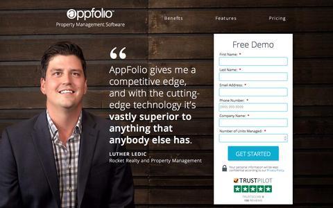 Screenshot of Landing Page appfolio.com - Property Management Software - captured Nov. 6, 2016