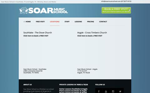 Screenshot of Locations Page soarmusicschool.com - Contact Info for Highest Rated Music School in Southlake TX - captured Nov. 7, 2018