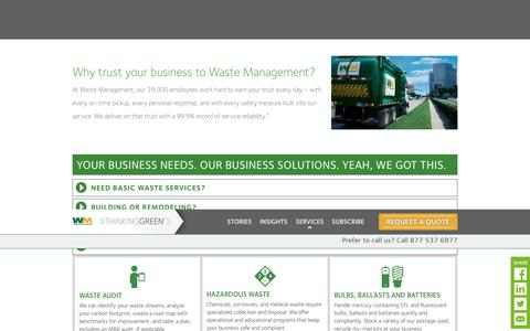 Screenshot of Services Page wm.com - Waste Management services for local business | WM Thinking Green - captured Jan. 26, 2017