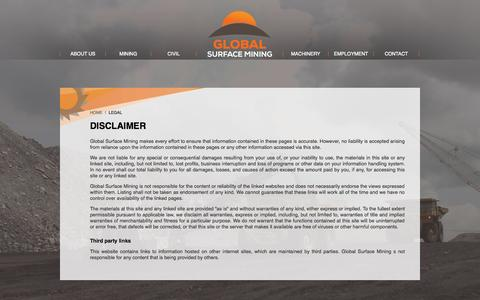 Screenshot of Terms Page globalsurfacemining.com - Legal - Global Surface Mining - captured Oct. 8, 2014