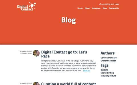 Screenshot of Blog digitalcontact.co.uk - Digital Contact's Big Data Blog - captured Sept. 30, 2014