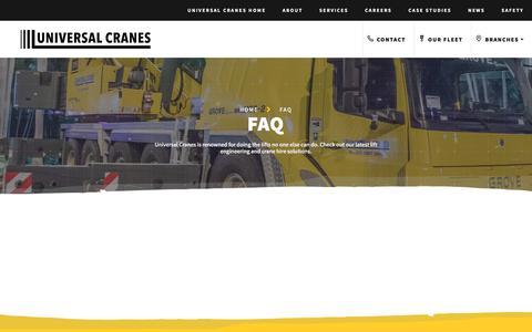 Screenshot of FAQ Page universalcranes.com - FAQ - Universal Cranes - captured Oct. 19, 2017