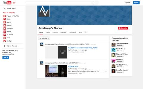 Screenshot of YouTube Page youtube.com - Armalavage's Channel  - YouTube - captured Oct. 23, 2014