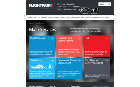 Screenshot of Services Page flightworx.aero - Overview Of The Aeronautical Management Services Provided - captured Oct. 10, 2018