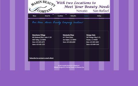 Screenshot of Contact Page marinbeautycompany.com - Contact »  MARIN BEAUTY COMPANY - captured Sept. 30, 2014