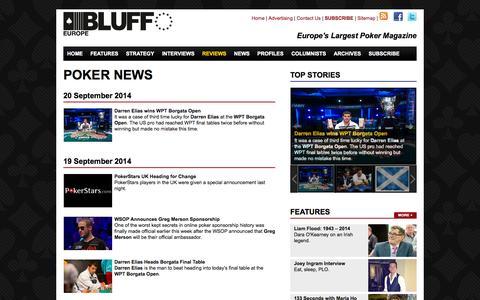 Screenshot of Press Page bluffeurope.com - Poker News » Bluffeurope Magazine - captured Sept. 23, 2014