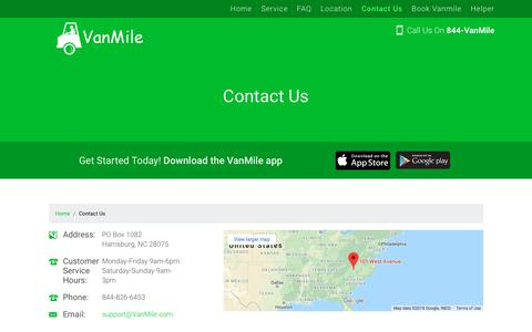 Screenshot of Contact Page vanmile.com - Contact Us - VanMile.com - captured July 8, 2018