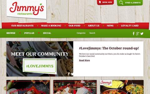 Screenshot of Press Page jimmysrestaurants.com - Jimmy's Restaurants News | Jimmy's World Kitchen and Grill - captured Nov. 3, 2014