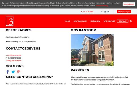 Screenshot of Contact Page 3advocaten.nl - Contact - 3 Advocaten - captured Sept. 20, 2018