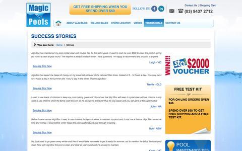 Screenshot of Testimonials Page magicpools.com - Stories | Magic Pools - captured Sept. 30, 2014