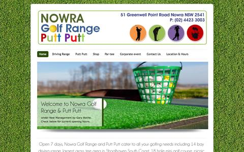 Screenshot of Home Page nowragolfrangeandputtputt.com - Nowra Golf Range and Putt Putt | Birthday party, family get together, BBQ, kid play gym available - captured Jan. 15, 2015