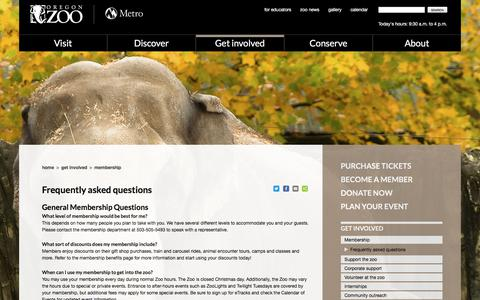Screenshot of FAQ Page oregonzoo.org - Frequently asked questions | Oregon Zoo - captured Sept. 23, 2018