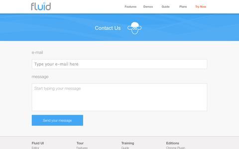 Screenshot of Contact Page fluidui.com - Contact the Fluid UI team - captured Sept. 23, 2014