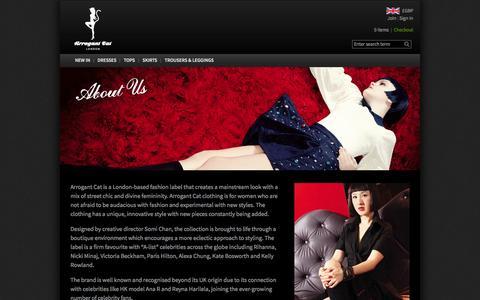 Screenshot of About Page arrogantcat.com - About Us - captured Sept. 30, 2014