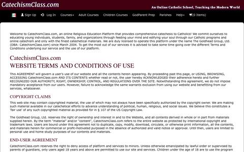 Screenshot of Terms Page catechismclass.com - Terms and Conditions of Use - captured Aug. 29, 2017