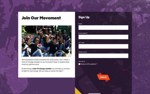Screenshot of Signup Page colorofchange.org - Join Our Movement | ColorOfChange.org - captured May 19, 2017