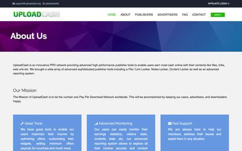 Screenshot of About Page uploadcash.org - UploadCash - About - captured Sept. 3, 2016
