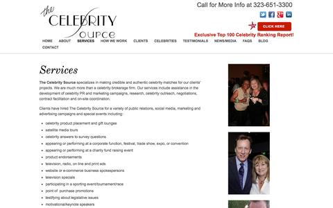 Screenshot of Services Page celebritysource.com - Services - captured Oct. 7, 2014