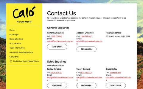 Screenshot of Contact Page fourthwavewine.com.au - Contact Us - captured Feb. 7, 2018
