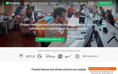 Screenshot of Home Page proofhub.com - Online Project Management & Collaboration Software | ProofHub - captured July 6, 2016