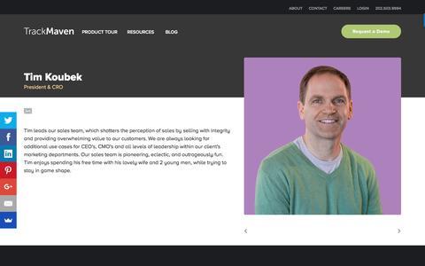 Screenshot of Team Page trackmaven.com - Tim Koubek – TrackMaven - captured Feb. 1, 2017