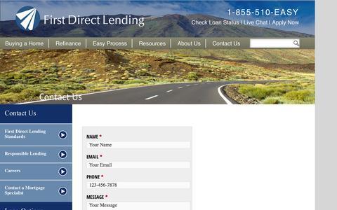 Screenshot of Contact Page firstdirectlending.com - Contact Us ‹ First Direct LendingFirst Direct Lending - captured Sept. 30, 2014