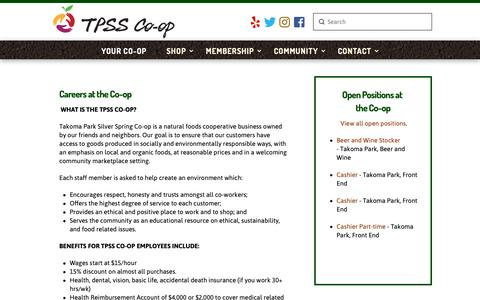Screenshot of Jobs Page tpss.coop - Careers | Takoma Park Silver Spring CO-OP - captured Nov. 16, 2018