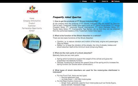 Screenshot of FAQ Page showa.co.id - Showa Indonesia Manufacturing - captured Oct. 1, 2014