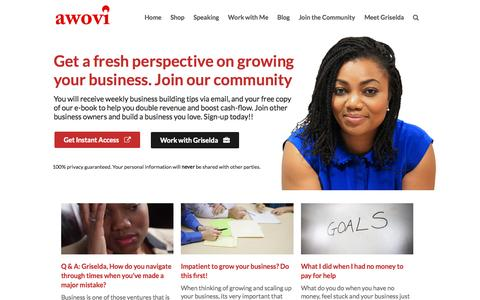 Screenshot of Home Page awovi.com - Transform Your Business: Practical High Impact Business Growth Strategies - captured Sept. 17, 2015