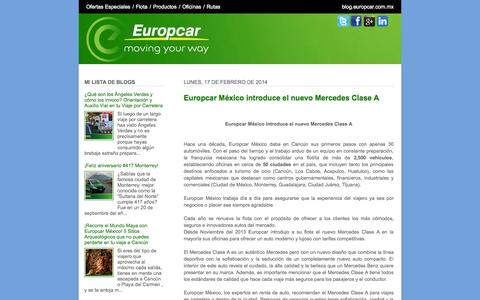 Screenshot of Blog europcar.com.mx - Europcar México - Blog - captured Sept. 23, 2014