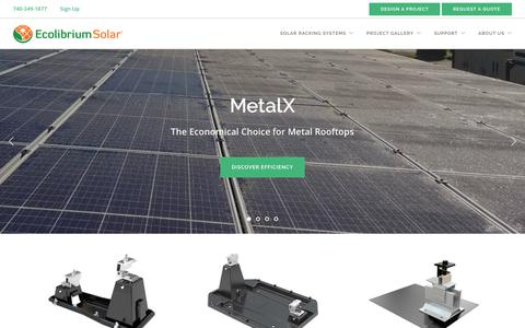 Screenshot of Home Page ecolibriumsolar.com - Solar Panel Roof Mount & Rack Systems | Ballasted Mounting & Racking | Ecolibrium Solar - captured Sept. 12, 2019