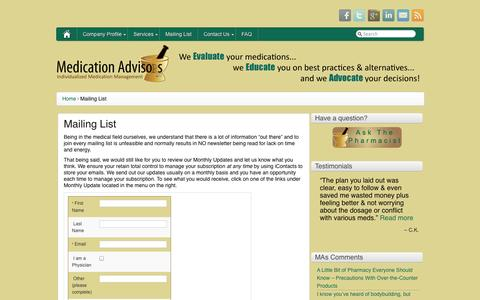 Screenshot of Signup Page medicationadvisors.com - Medication Advisors -   Mailing List - captured Oct. 1, 2014
