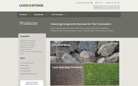 Screenshot of Products Page luckstone.com - Products | Luck Stone - captured Jan. 3, 2017