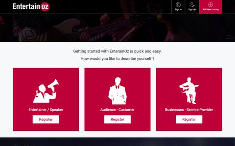 Screenshot of Signup Page entertainoz.com.au - Add Act, Service or Venue - EntertainOZ - The premier Australian entertainment directory - captured Nov. 5, 2018
