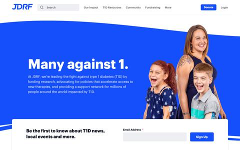 Screenshot of Home Page jdrf.org - JDRF - Type 1 Diabetes Research Funding and Advocacy - captured Nov. 4, 2018