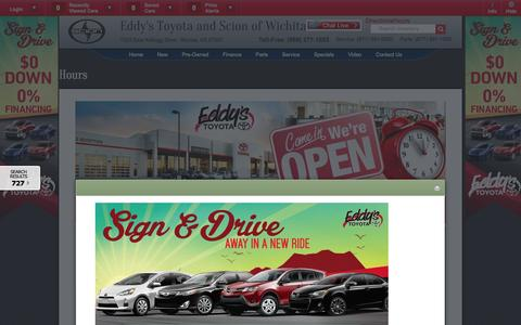 Screenshot of Hours Page eddystoyota.com - Toyota & Scion Sales Service Parts Hours | Wichita Auto Sales - captured Oct. 2, 2014