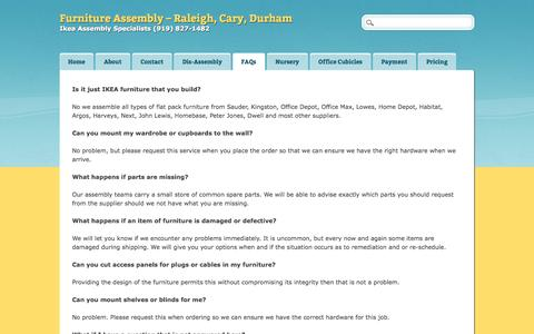 Screenshot of FAQ Page requiresassembly.com - Furniture Assembly - Raleigh, Cary, Durham | FAQs - captured Oct. 29, 2014