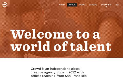 Screenshot of About Page thisiscrowd.com - About Crowd: a global creative communications agency - Crowd - captured Oct. 6, 2018