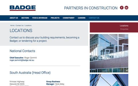 Screenshot of Contact Page Locations Page badge.net.au - Contact Us | Locations | BADGE – Your Partners in Construction - captured Sept. 25, 2018