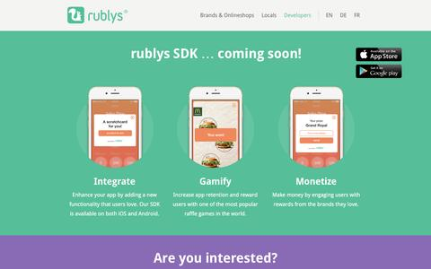 Screenshot of Developers Page rublys.com - rublys for Developers - SDK for iOS & Android Apps - captured Nov. 15, 2016