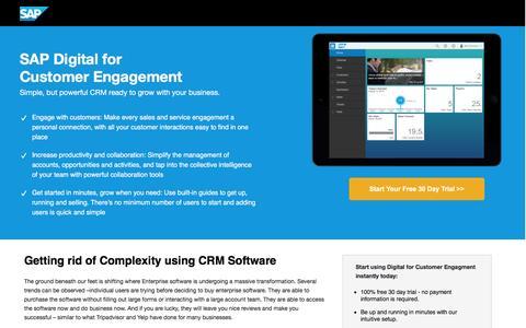 Screenshot of Landing Page sapstore.com - CRM-Software: SAP Digital for Customer Engagement | SAP Store - captured Oct. 12, 2016