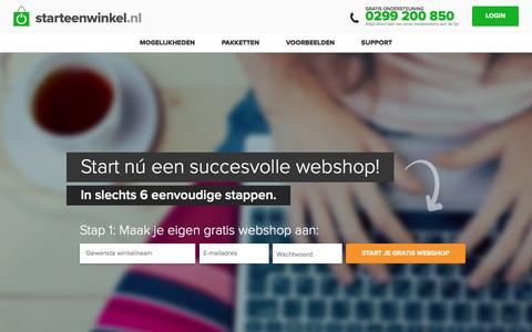 Screenshot of Home Page starteenwinkel.nl - Je eigen webshop beginnen - Starteenwinkel.nl - captured July 27, 2016